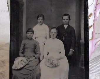 SALE Antique Tintype Happy Family Doe Portrait