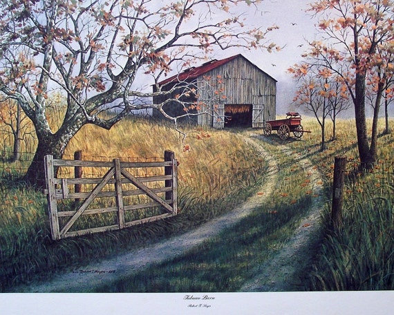 Last One....Vintage Tobacco Barn Fine Art Watercolor Horse Print - Artist Robert T Hayes - Frameable Art