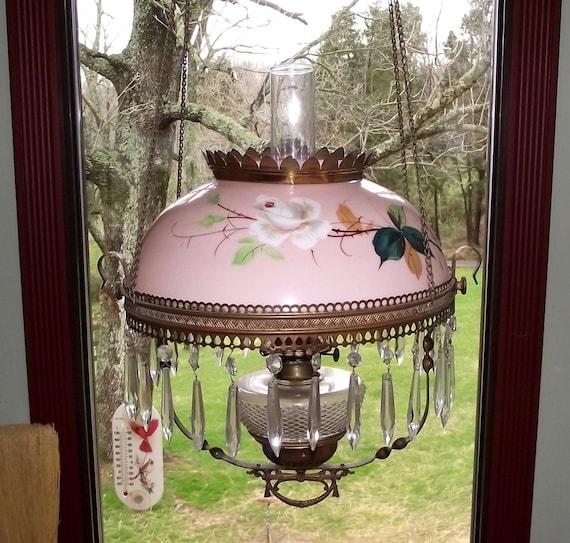 Antique Hanging Chandelier Pink Milkglass Kerosene Lamp