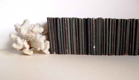SALE - 35 Antique Little Leather Library Books - Big Instant Collection