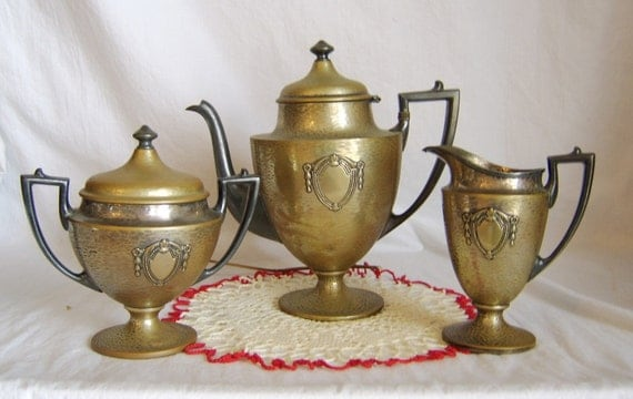 Vintage 1930's Sheffield Hammered Silver Plate Tea Service