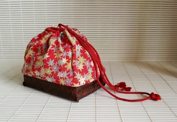 SALE - Vintage Japanese Little Drawstring Bag Purse Basket