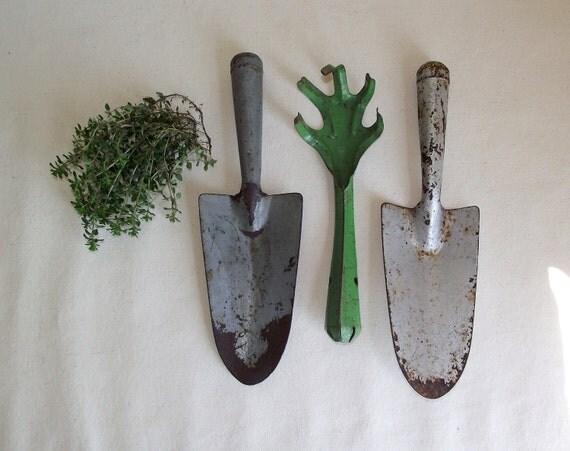 3 Vintage Farmhouse Garden Tools
