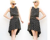 80s Black Polka Dot Dress - Fishtail Dress - Spring Fashion - High Low Dress - Asymmetrical Dress - Pretty Woman - Black and White - 8 10 M