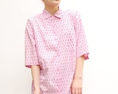 RESERVED 80s Oversized Shirt - Pink Shirt - Spring Fashion - Penguin Print Shirt - Open Back - Unisex Shirt - S M L 6 8 10