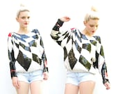 80s Sequin Blouse - Trophy Neon Top - Avant Garde Blouse - Silk Blouse - Glam Top - Batwing Sleeves - S M 2 4 6 8