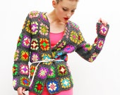 70s Afghan Sweater Cardigan - Patchwork Sweater - Crochet Sweater - Granny Cardigan - Bold Sweater - Fall Fashion - S M