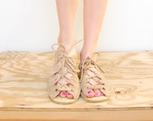60s Gladiator Flats - Suede Lace Up Flats - Taupe Festival Sandals - Boho Hippie Lace Up Loafers - SIZE 8 EURO 38
