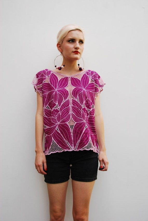 80's Sheer Cut Out Floral Top S M