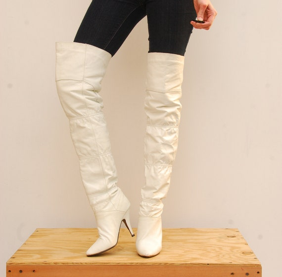 80's White Boots Over The Knee Boots Thigh High Boots