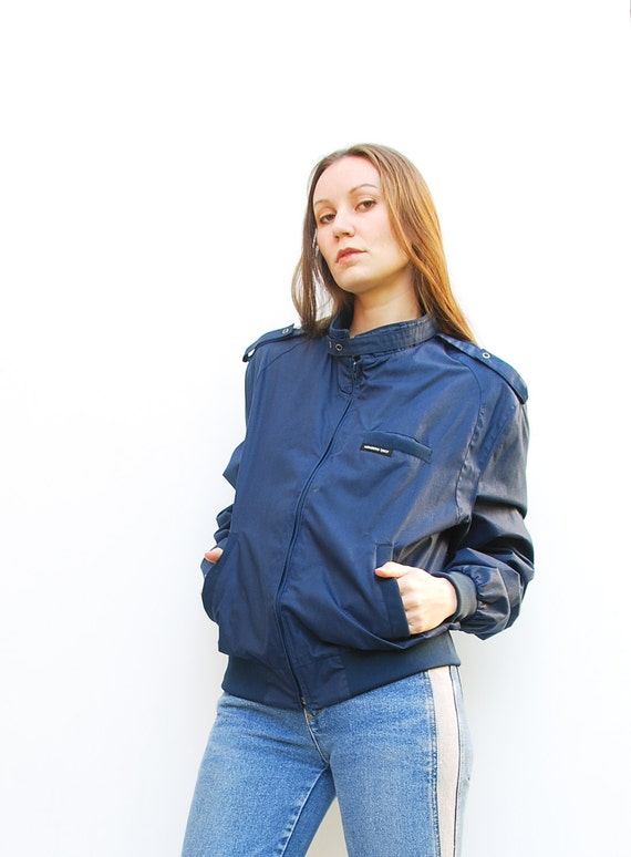80s Navy Blue Members Only Jacket  - Moto Jacket - Cafe Racer Jacket - Hipster Jacket - Windbreaker - Light Jacket - 44 8 10 12 M L