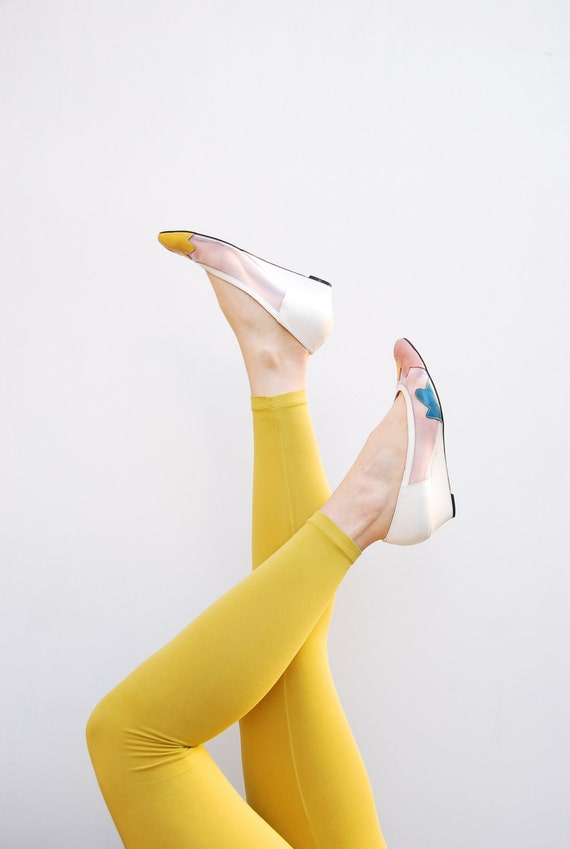 70s Wedge Flats - Spring Fashion  - White Wedge Flats - Sheer Shoes - Illusion Wedges - Color Pop - California Magdesians - 8 8.5 8 1/2