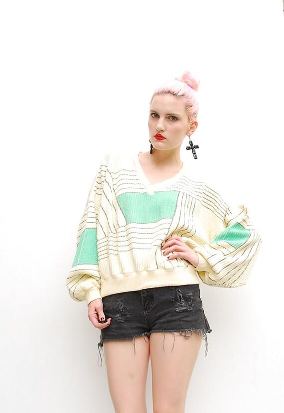 80s Sweater - Geometric Sweater - Batwing Sweater - Fall Fashion - Stripes - Modern Art Sweater - Cream // Seafoam Green - S M 2 4 6 8