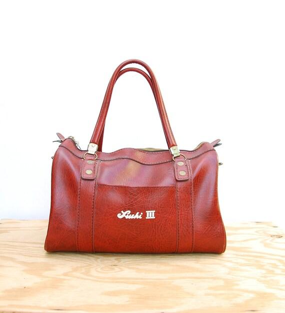 70s Faux Leather Bag - Brown Weekender Bag - Vintage Vegan Bag - 1970s Tote - Oversized Travel Bag