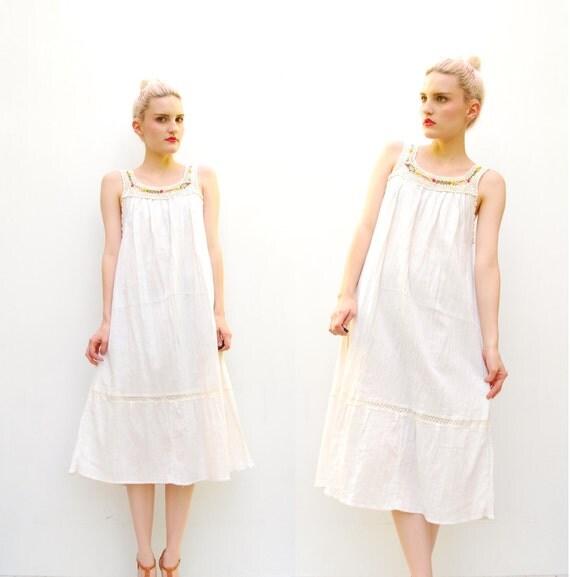 70s Ivory MEXICAN Dress - Hippie Crochet Dress -  Draped Gauze - Floral Doily Dress - 1970s Tunic Dress - S M 2 4 6 8 10
