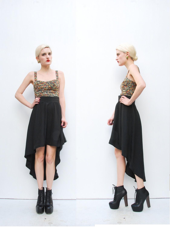 70s skirt high low skirt asymmetrical skirt black skirt