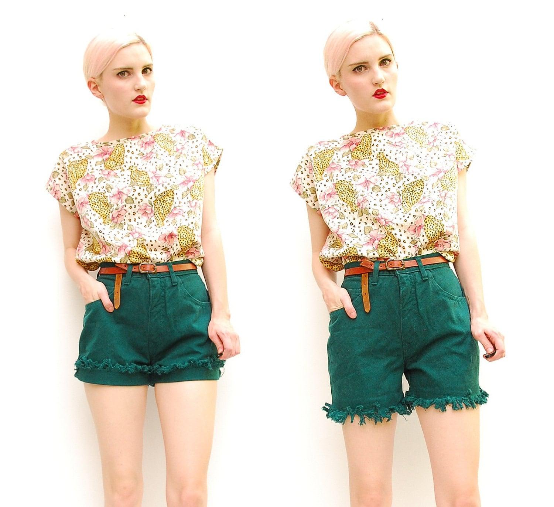 80s Shorts Dark Green Jean Shorts Fringe Shorts High