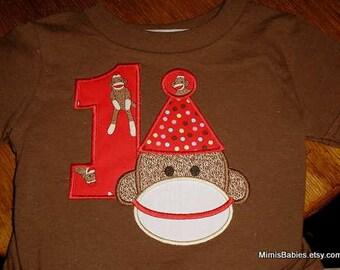 Sock Monkey Birthday Shirt   Sock Monkey wearing Party Hat  Infants Toddlers Boy or Girl