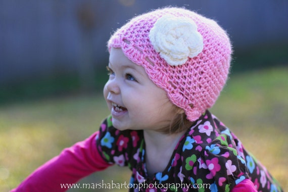 Prettiest Princess Pink Crochet Beanie with Flower - Newborn, 3-6 month, 6-12 month, 18-24 month, Toddler, and Youth Sizes Available