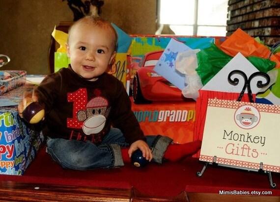Sock Monkey Brown Birthday Shirt  Custom Monogrammed Free  Girls or Boys Infant Toddler Child Sizes