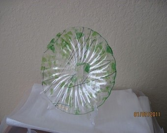 SALE - Fused Shallow  Glass Plate