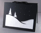 Cut Paper Snow Scene Christmas Silhouette Greeting card - arwendesigns
