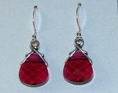 Ruby Briolette Earrings by Pink Elephant Embellishments