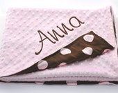 Personalized Minky and Satin Baby Blanket - Pink and Brown Dot Satin and Light Pink Minky  - Girl Baby Blanket