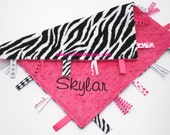 Personalized Baby Tag Blanket Ribbon Lovey - Zebra and Hot Pink Minky