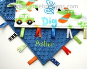 Tag Blanket Personalized Baby Lovey Boy - Zoom Beep Dig with Cobalt Minky