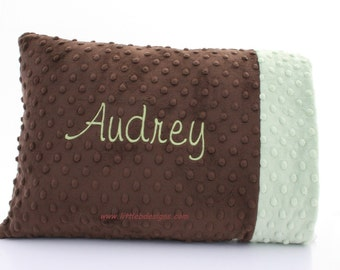 Personalized Minky Toddler Pillow - Choose From Over 24 Different Colors