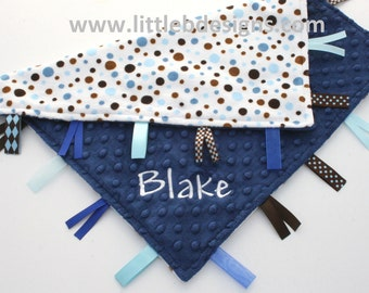 Personalized Tag Blanket Ribbon Lovey - Navy with Blue and Brown Polka Dot Minky