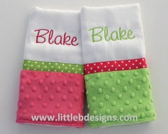 Personalized Burp Cloth Set - Over 24 Minky and Cotton Fabrics Available