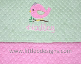 Personalized Baby Blanket with Bird Applique - Pink and Sage Minky