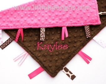 Personalized Ribbon Lovey - Hot Pink and Chocolate Minky - Tag Blankie