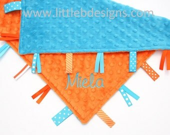 Personalized Baby Tag Blanket Ribbon Lovey - Turquoise Blue and Orange Minky