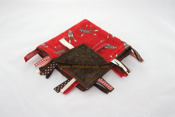 Sock Monkey (Red) and Chocolate Minky Ribbon Lovey