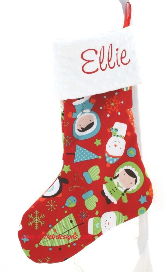 Red Christmas Mix Stocking - Personalized With Your Name