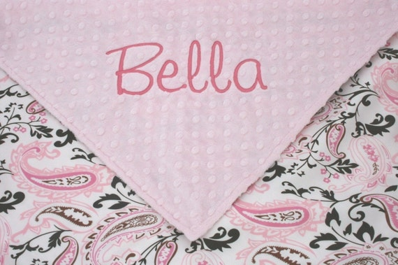 Girl Baby Blanket - Personalized - Light Pink Minky with Pink and White Paisley Satin