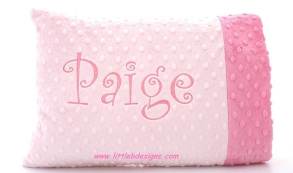 Personalized Toddler Pillow Case and Pillow - Choose From Over 30 Minky Colors - Pink