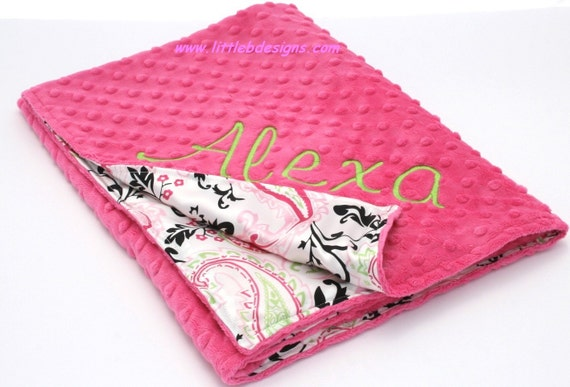 Personalized Baby Blanket - Hot Pink Minky with Pink and Lime Paisley Satin - Girl Baby Blanket