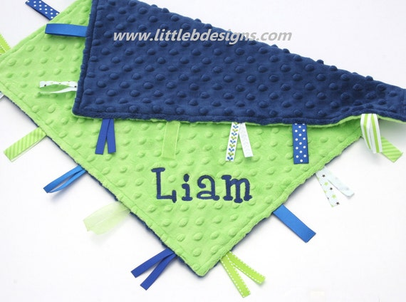 Personalized Ribbon Lovey - Navy Blue and Lime Green Minky Dot