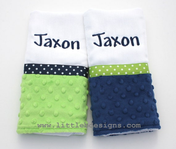 Personalized Burp Cloth Set - Over 30 Minky and Fabric Options