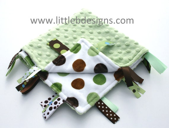 READY TO SHIP - Green and Brown Dot with Sage Green Minky Ribbon Lovey