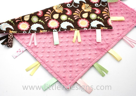 Personalized Baby Tag Blanket Ribbon Lovey - Floating Flowers Cotton and Pink Minky