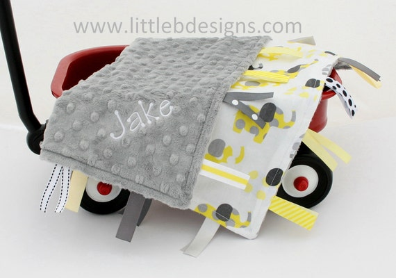 Personalized Elephant Tag Baby Blanket Ribbon Lovey - Boy or Girl Blanket Yellow and Gray