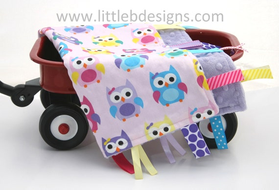 Owl Baby Tag Blanket Ribbon Lovey - Girl Owls Blanket Pink and Purple