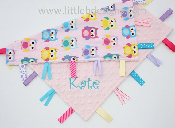 Personalized Owl Baby Tag Blanket Ribbon Lovey - Girl Owls Blanket Pink