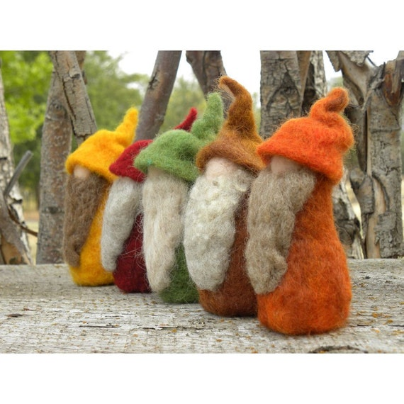 A Touch of Autumn Needle Felted Gnomes