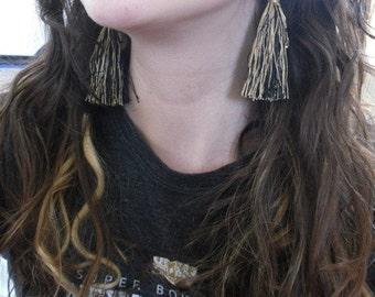 Black&Gold Tassel Earrings - New Orleans Sports Fan - NOLA - Thread Trim Pom Pom Earrings